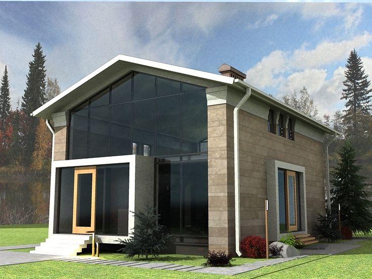 Дом со стеклянным фасадос