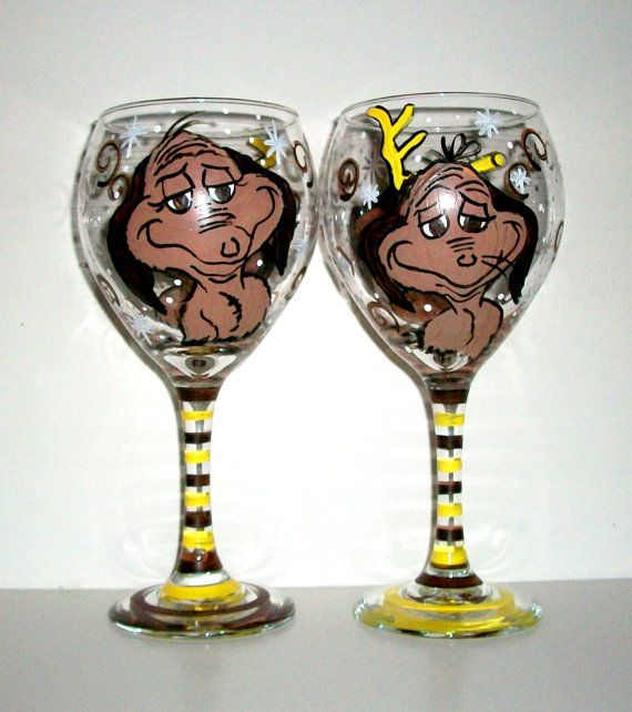 Max from The Grinch Set of 2 Hand painted 20 oz. Wine Glasses