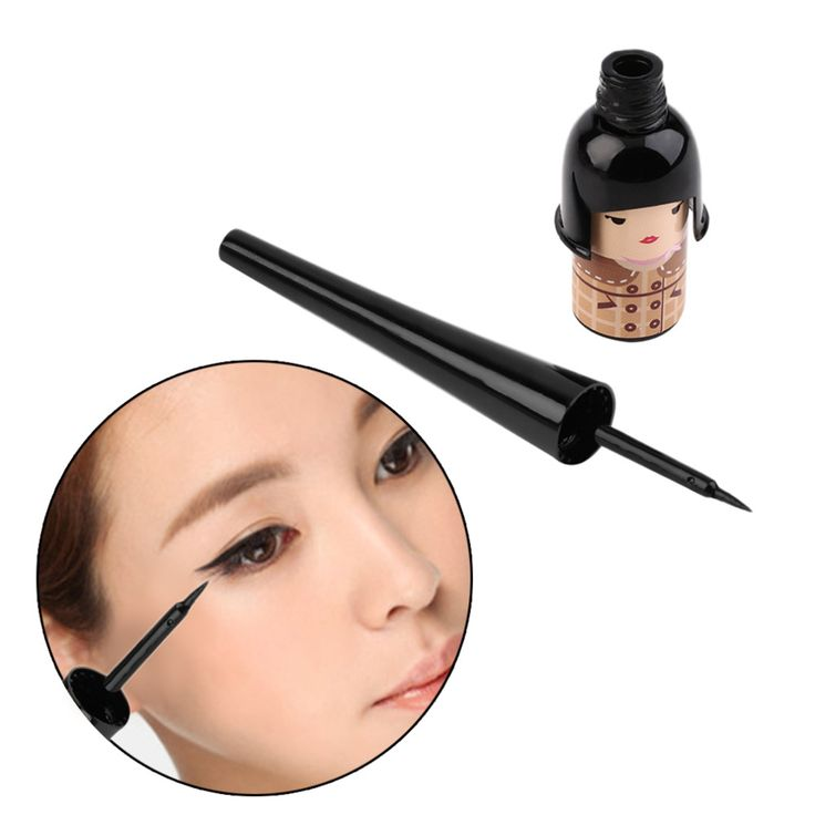 New Arrival 1 pc Women Cute Lucky Doll Black Waterproof Liquid Eyeliner Pen Makeup Cosmetic Top Quality