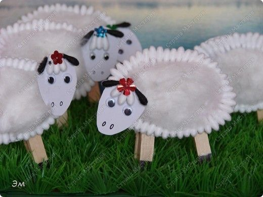 * Wat leuk deze schaapjes van wattenstaafjes en watjes!