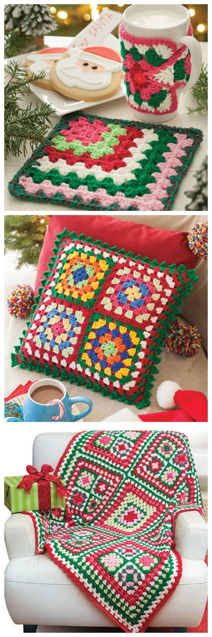 Annie's top-selling A Granny Square Christmas Crochet book includes 15 festive designs.