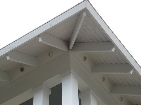 Exposed Rafter Tails:  I saw a house in Coastal Living that painted the tails the same color as the trim - so that there was a spot of color shining from underneath.  The house was a grey cedar shingle with Barely Teal (Ben Moore) trim and tails.