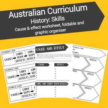 The concepts of Cause & Effect, is fundamental concepts for Australian History students today. This resource links directly to the Historical knowledge and understanding strand of the Australian Curriculum. This foldable and worksheets will assist students in understanding and applying these concepts.