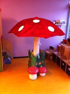 Bij het PUK thema reuzen en kabouters een grote paddenstoel voor in de klas gemaakt van een kleine parasol.