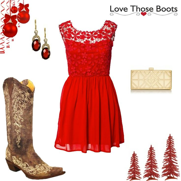Don't forget your Cowgirl Boots when picking out your Christmas Day outfit! We love pairing our Wildwood Flower Vintage Brown Leather Boots A1094 by Corral Boots with a red dress for the perfect Christmas Day outfit. What will you be wearing this Holiday Season?