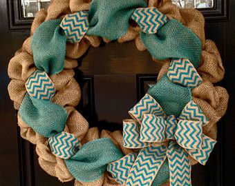 Orange and Natural Chevron Burlap Wreath 22 by SimplyBlessedGift
