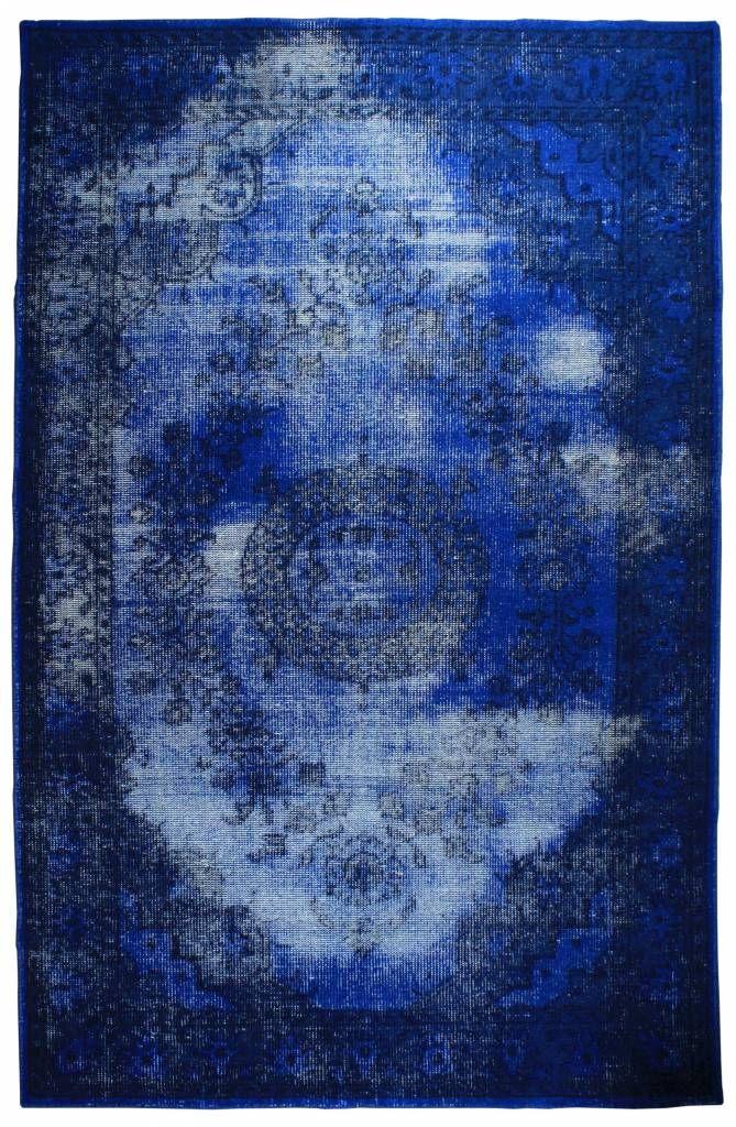 HK-living Vloerkleed blauw wol in 3 maten, Tapijt blauw oververfd - wonenmetlef.nl