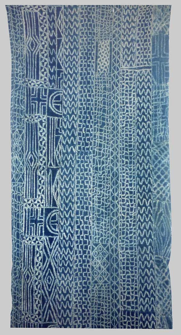 Indigo strip woven & resist dyed cotton cloth,  known as Ndop Cloth, Baminiki People, Grassland of Cameroon, Mid 20th c (2 metres 30cm's x.95 cm's)
