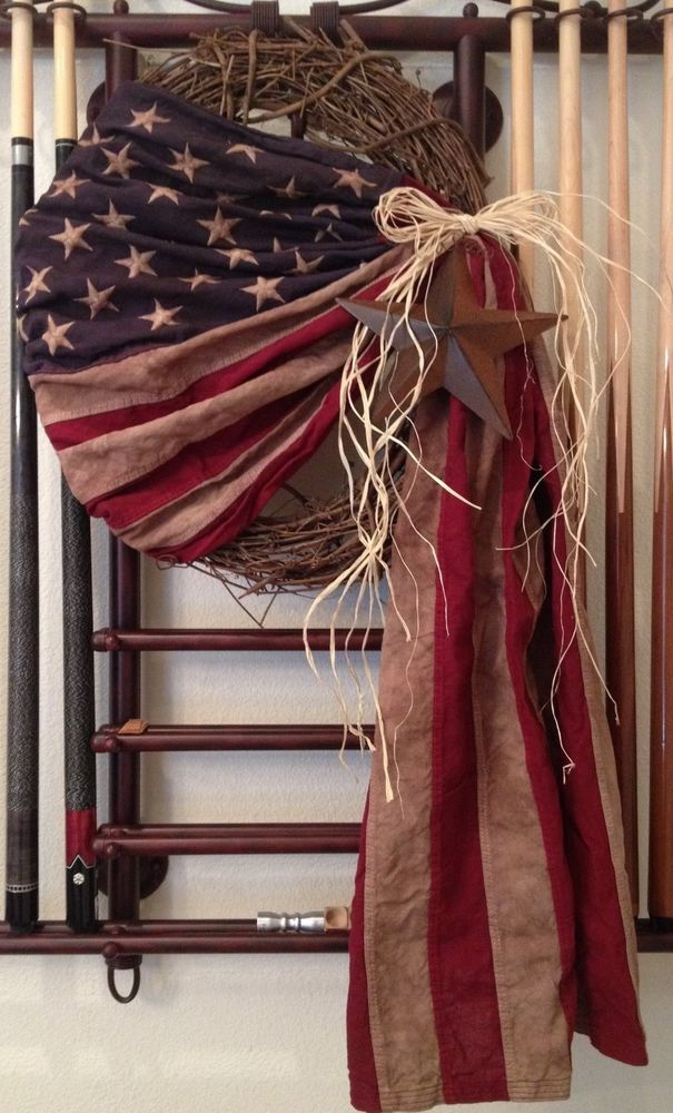 Primitive Antiqued American Flag Wreath Americana Vintage Country Patriotic USA