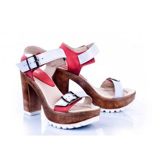 Kožené dámske sandále v bielo-červenej farbe - fashionday.eu