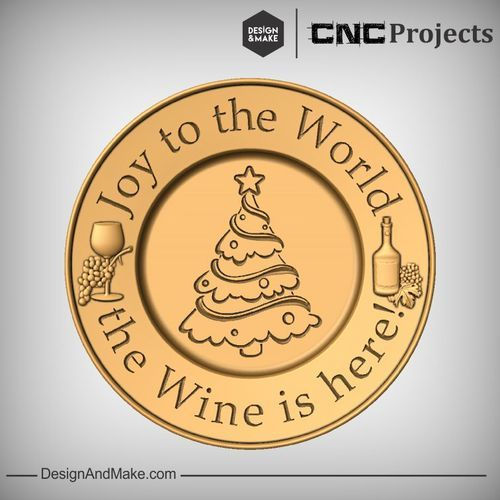 "Hack of the Week No.82 — Design and Make CNC Projects  Holiday wine coaster using a free vector from Vectric 2015 Advent Calendar.  ""Joy to the World, the WINE is here!"""