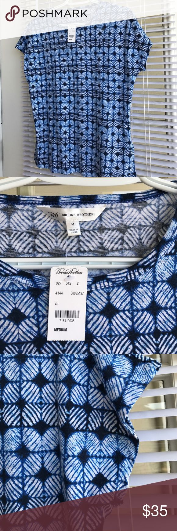 Brooks Brothers Top NWT Blue and white pattern stretch size M New never worn Brooks Brothers Tops Tees - Short Sleeve