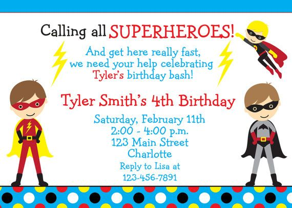 Best Superhero Birthday Images On Pinterest Birthday Party - Birthday invitation template superhero