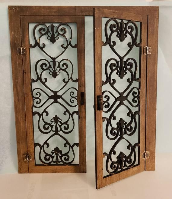 Miniature Dollhouse Wrought Iron Style Double French Doors 1 12 Scale Double French Doors Dollhouse Miniatures Miniatures