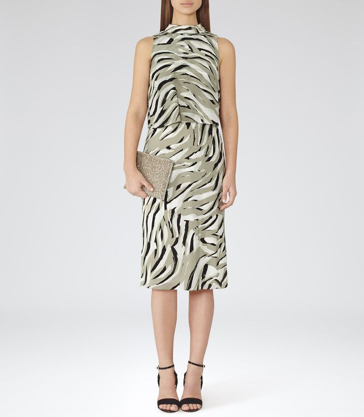 Womens Verte Printed High-neck Dress - Reiss Germaine