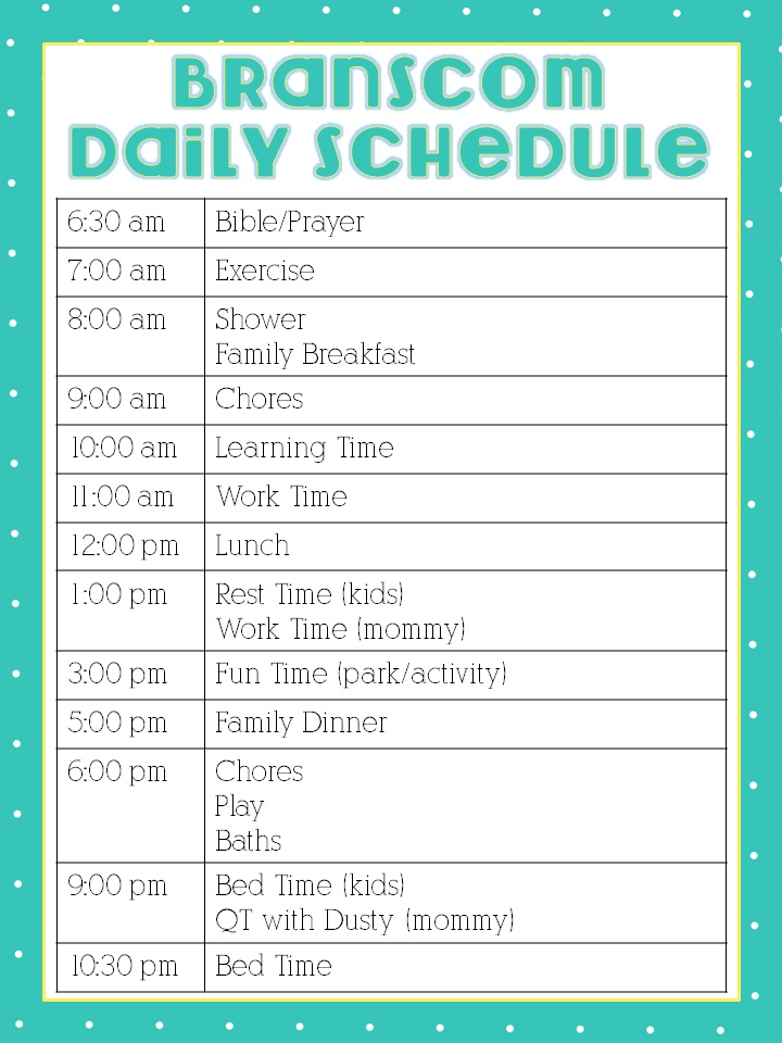 Here is my daily schedule for most week days My friend Katie from - work schedule