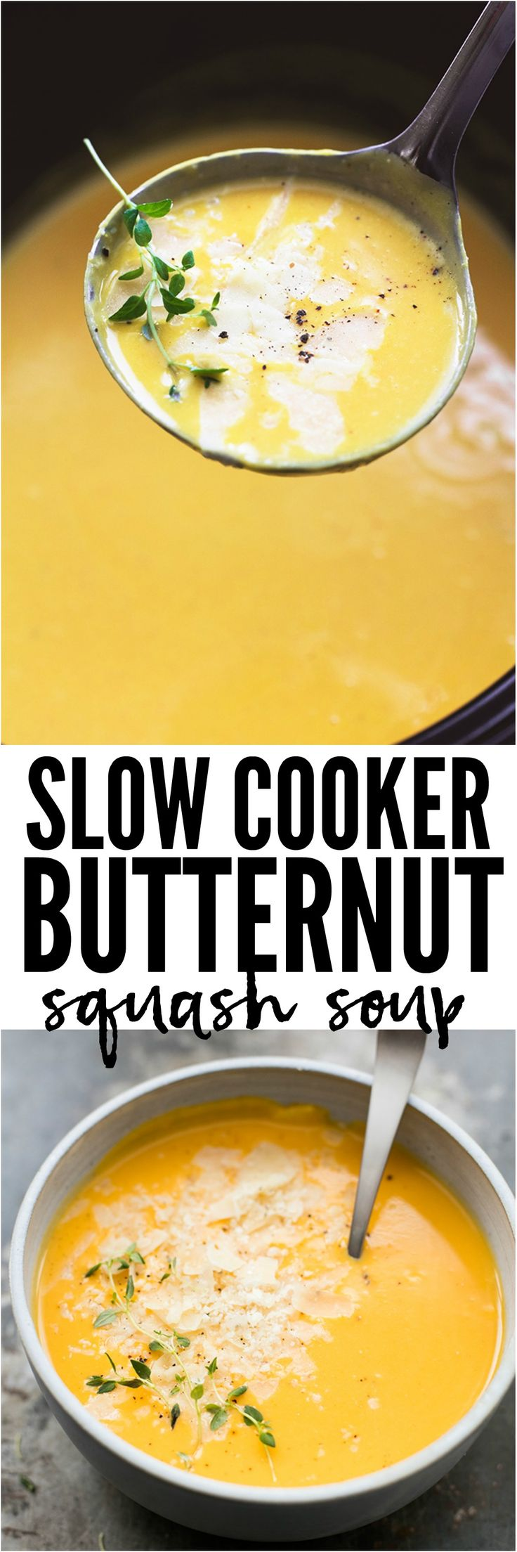 Slow Cooker Butternut Squash Soup is creamy, cheesy, and the perfect comforting soup. This soup will become a new favorite!