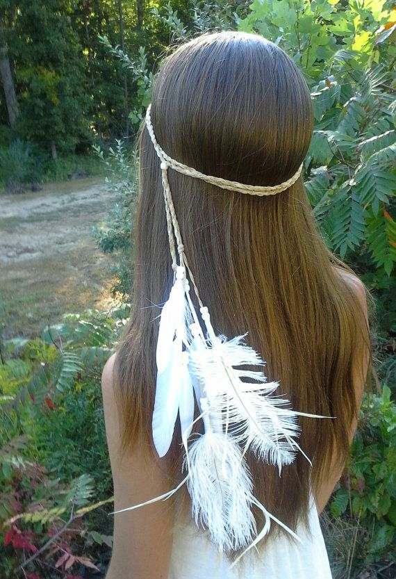 Feather HeadBand Native American wedding bridal by dieselboutique