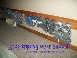 No more tripping over shoes!  SHOE RACK idea!  Get organized. Shoes.