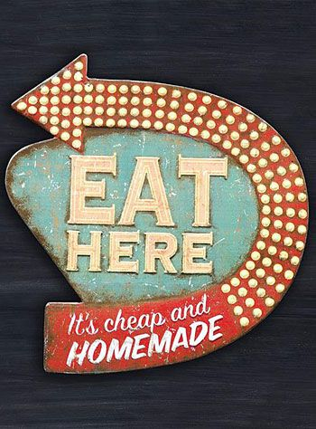 "Retro Diner Kitsch Kitchen Wall Art. ""This fun, vintage inspired metal wall sign is perfect for your retro-themed kitchen! Made of embossed metal (tin), it is printed with colorful artwork made to look like a vintage Fifties Diner sign."""