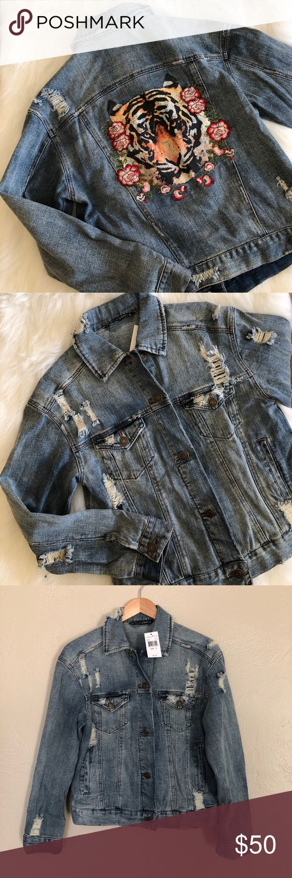 NWT [vanilla star] embroidered denim jacket Brand new! Destroyed. Embroidered roses on back with screen printed tiger. Comes from a smoke-free home!! Price negotiable, within reason, so feel free to make an offer!! NO trades. NO ️️. LOWBALL OFFERS will NOT be tolerated! I love bundles though  Vanilla Sky Jackets & Coats Jean Jackets