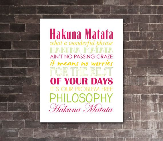"LION KING ""Hakuna Matata"" PRINTABLE Lyrics Artwork 