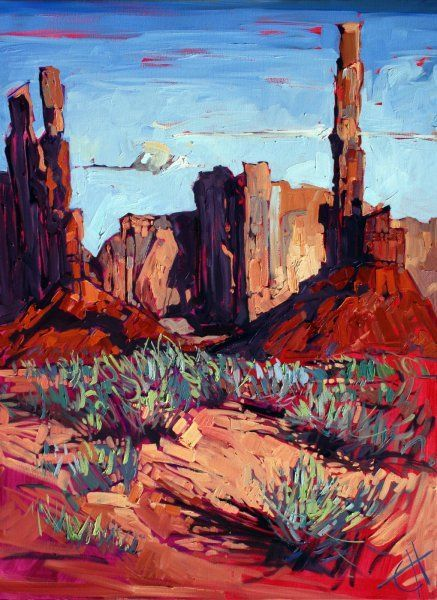 Monument Valley Oil Painting by Erin Hanson #OilPaintingAbstract