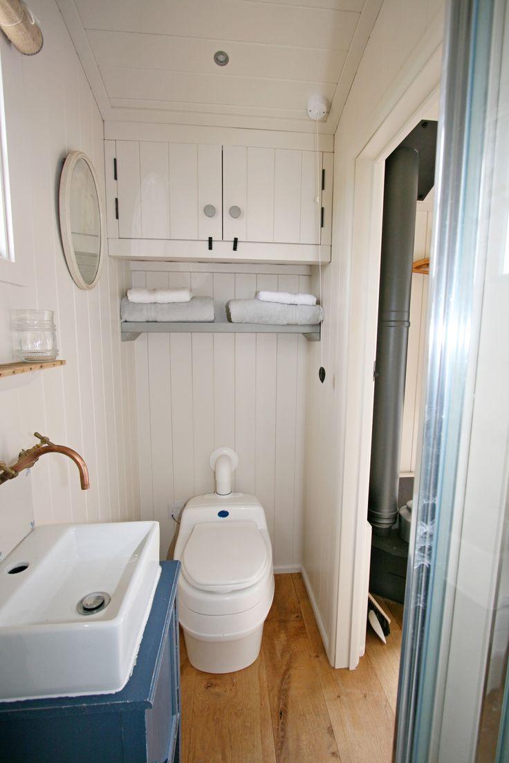 Separett Villa 9010 12V DC off-grid urine-separating dry compost toilet installed in a shepherd's hut. Supplier: http://littlehouse.co  Shepherd Hut rental in Rye, E Sussex UK www.thesaltyshepherd.co.uk