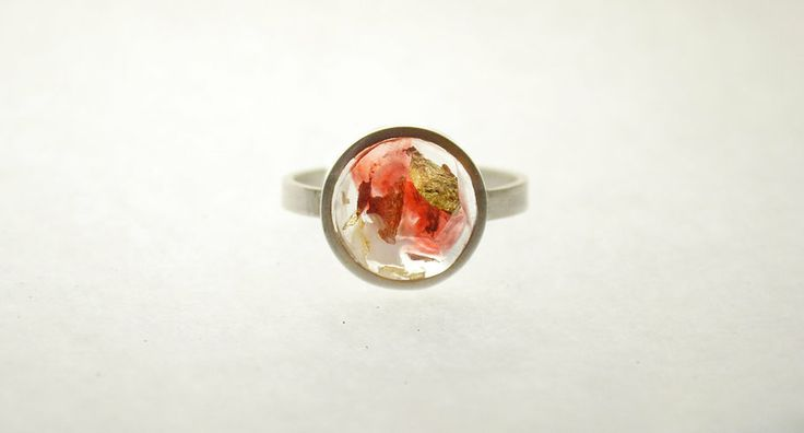 Ring by EllaVi. Red and gold resin set in silver.