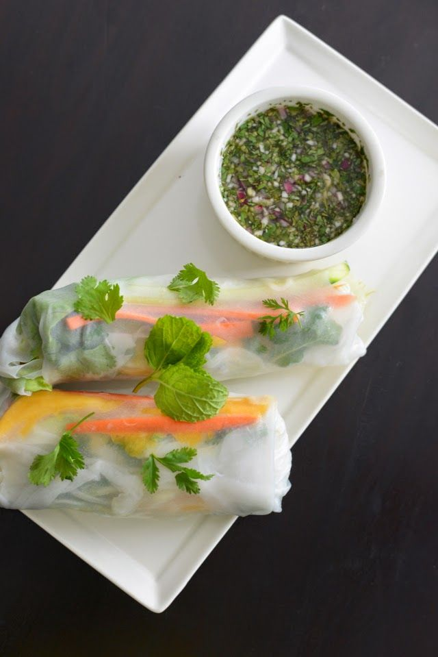 shrimp and mango summer rolls with chili lime sauce, M Loves M