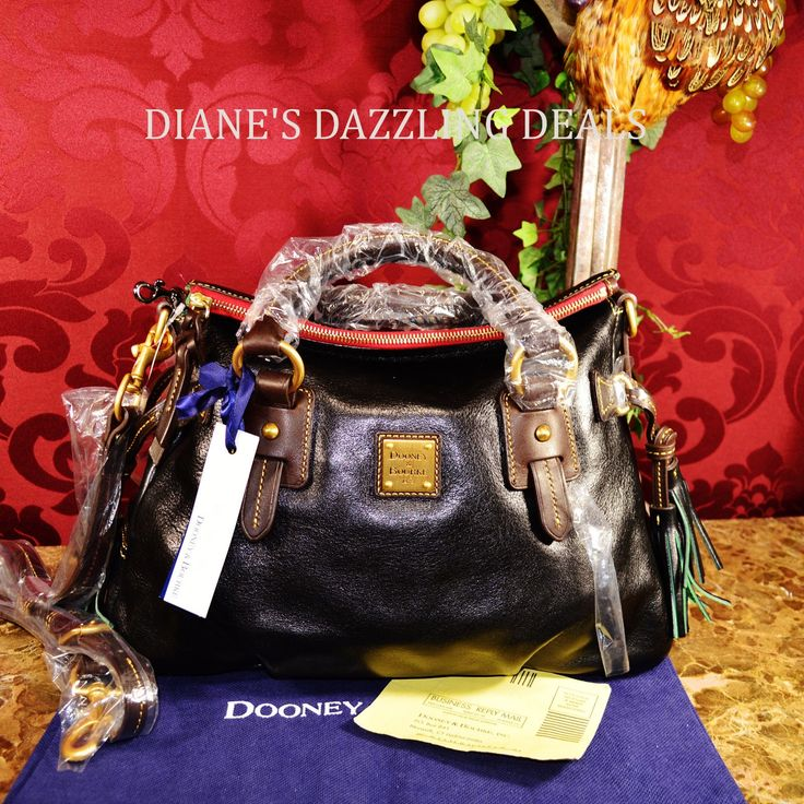 Dooney & Bourke NWT Toledo Line Florentine Leather Satchel Bag BEAUTIFUL BLACK