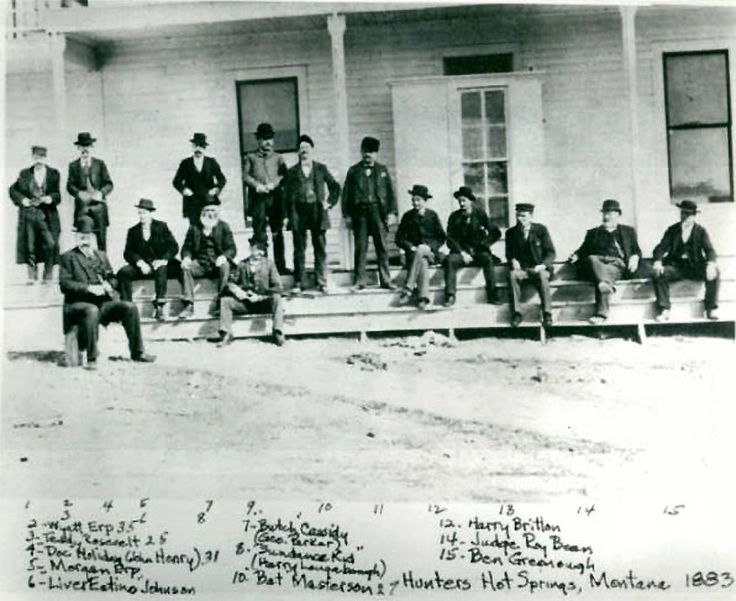 Railroad member, Wyatt Earp, Teddy Roosevelt, Doc Holliday, Virgil Earp, Jeremiah Johnson, Butch Cassidy, Sundance Kid,  2 railroad members, Bat Masterson, Judge Roy Bean and Ben Greenough.