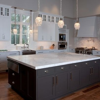 White cabinets black island river valley white granite countertops for the home - White kitchen dark counters ...