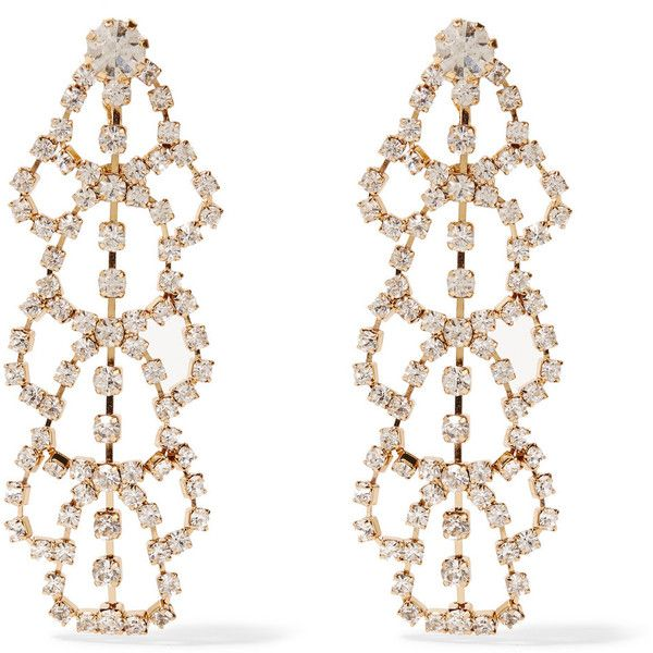 Kenneth Jay Lane Gold-plated crystal clip earrings ($40) ❤ liked on Polyvore featuring jewelry, earrings, accessories, joias, metallic, clip back earrings, crystal jewellery, gold plated jewellery, crystal earrings and kenneth jay lane jewelry
