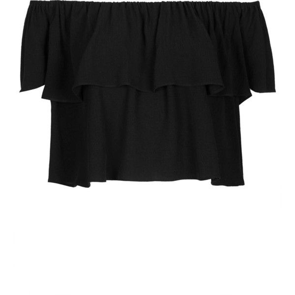 TOPSHOP Crinkle Bardot Bandeau Top (55 CAD) ❤ liked on Polyvore featuring tops, crop tops, topshop, black, cut-out crop tops, bandeau bikini tops, bandeau top, rayon tops and crinkle top