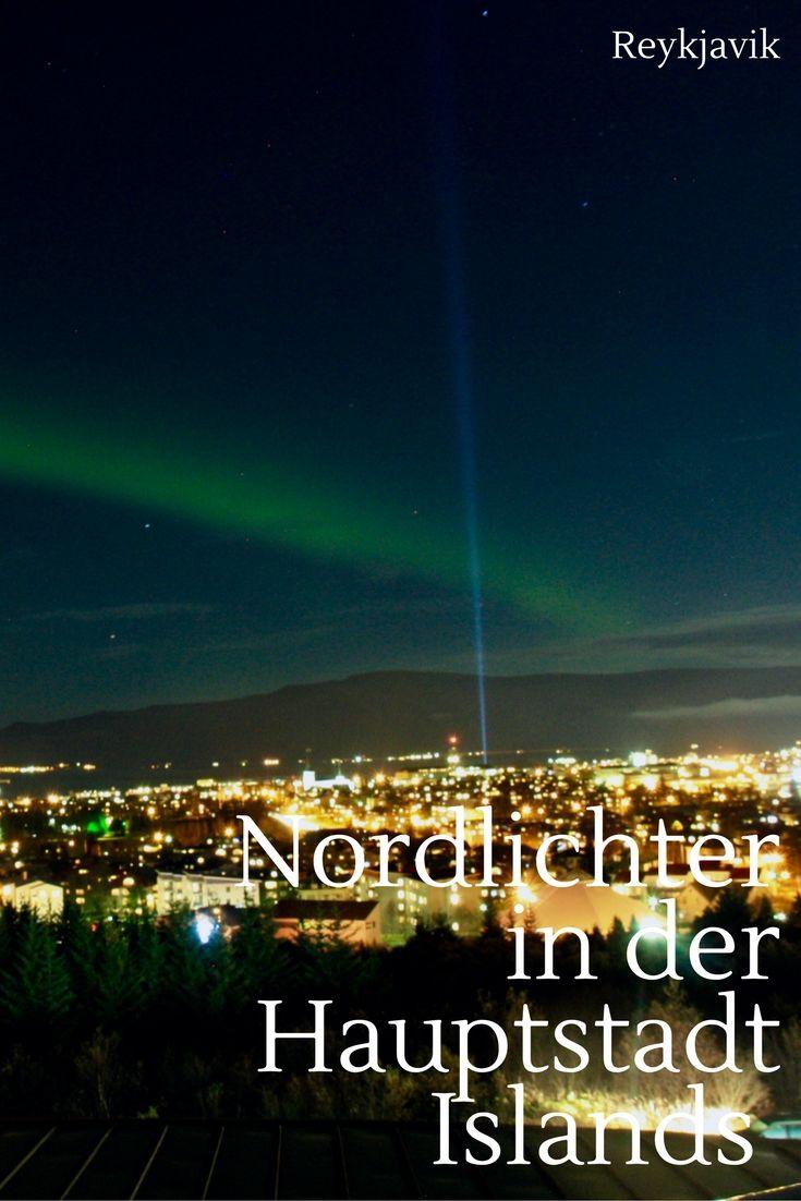 Northern Lights in Reykjavik. Die Nordlichter über der Hauptstadt von Island. Der Perlen in der Hauptstadt bietet eine gute Plattform dafür.