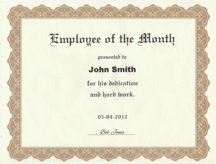 Employee of the Month Certificate Printed from Our Template