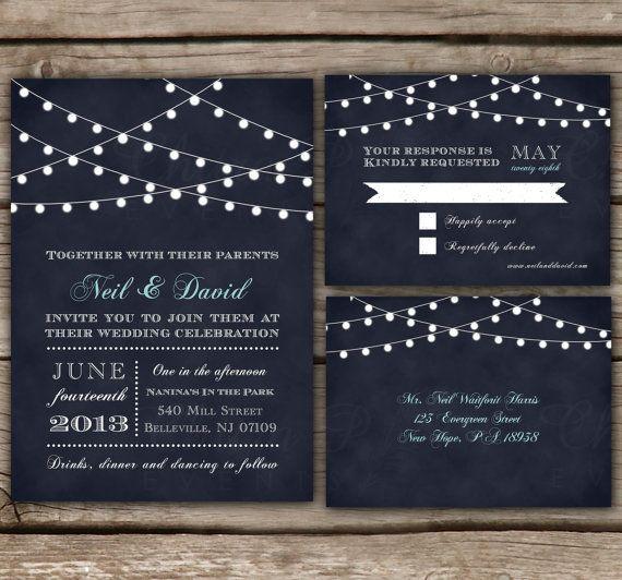 String Lights Wedding Invitations - Printed,  Chalkboard, Starry lights, Bridal Shower, Engagement Party, Midnight Blue, RSVP Postcard - Shop: chitrap.etsy.com