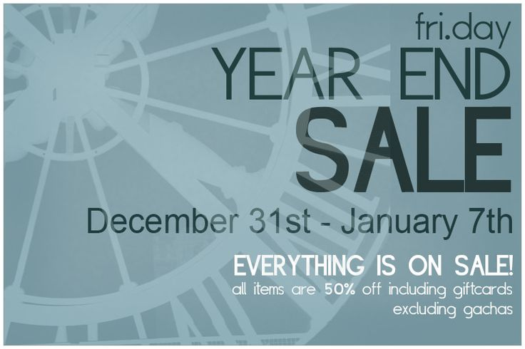 https://flic.kr/p/Cc1kgS | fri.day Year End Sale! - Beginning December 31st | Hey guys! To say that December has been  a rough month for me would be an understatement. I'm so sorry I've done nothing special for my customers, usually this is my favorite time of year. I've decided to have a year end sale to help kick off 2016. I hope it will be a better year for all of us! I will have a group gift out as well as a new round of Mix so hopefully you will find something you like! I appreciate…