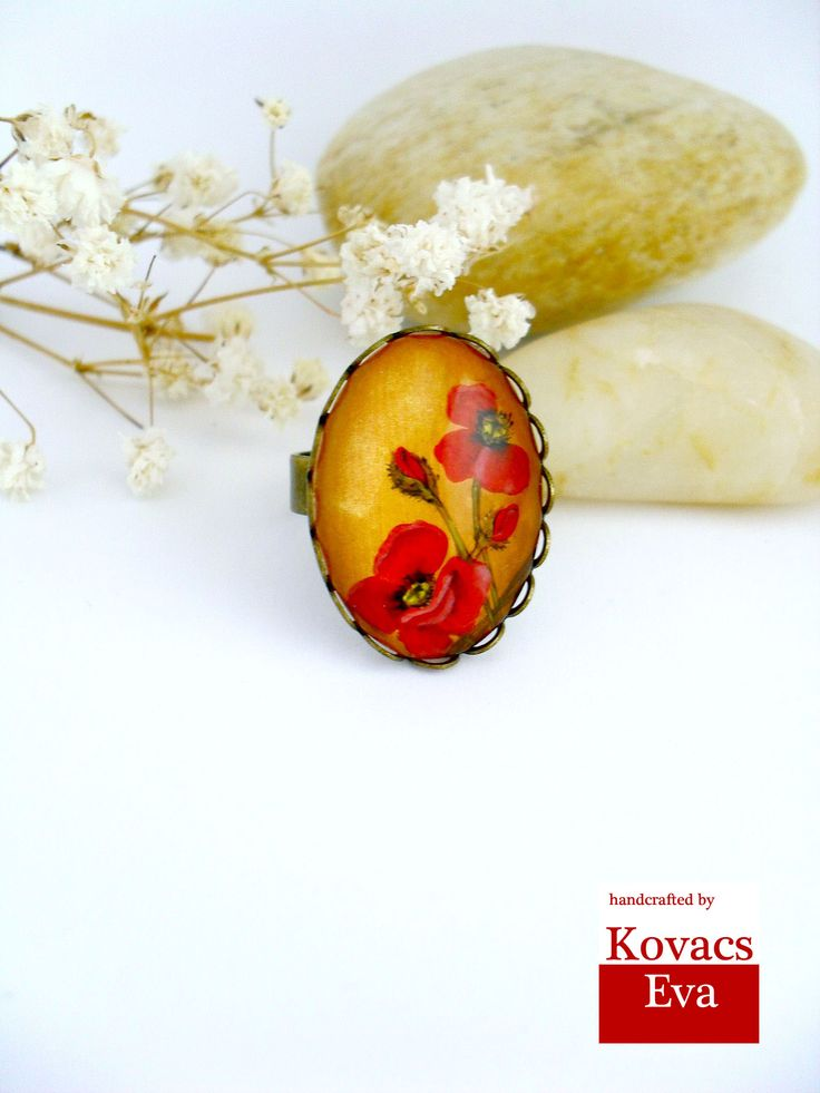 Red poppy ring.Flower ring.Hand painted jewelry.