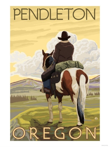 Cowboy & Horse, Pendleton, Oregon - we have this print hanging in our guest room .