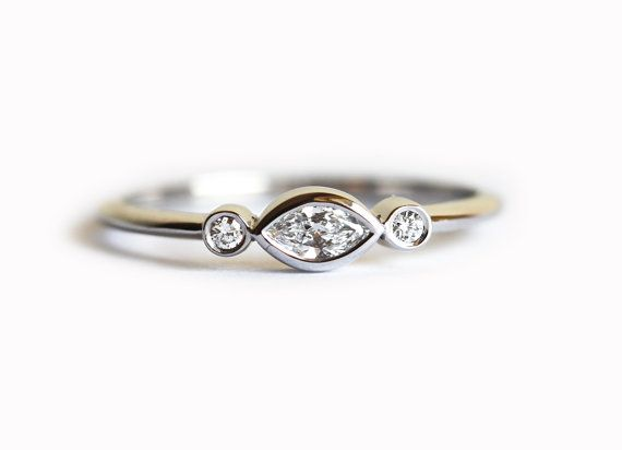 White Gold Engagement Ring Three Diamond Ring Three by MinimalVS