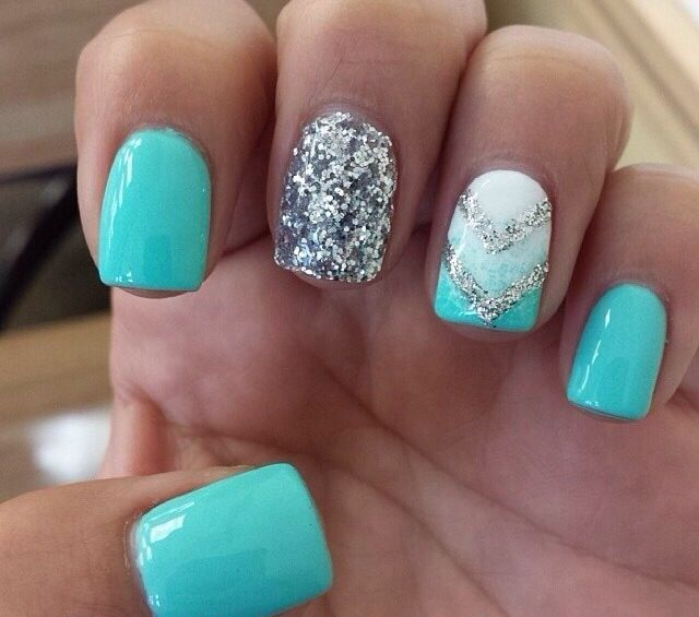 Aqua and silver nail design with ombré nail