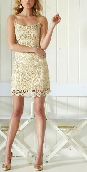 Gold Lace Slip Dress| Lily Pulitzer