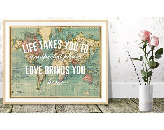 Life takes you to unexpected places print Vintage World Map