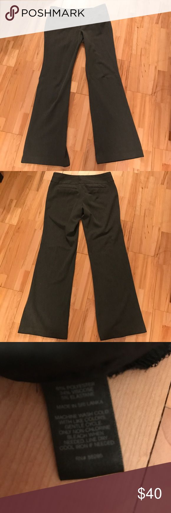 Grey dress pants Heather grey Express flare editor pants with wide waistband. Barely worn. Express Pants Trousers
