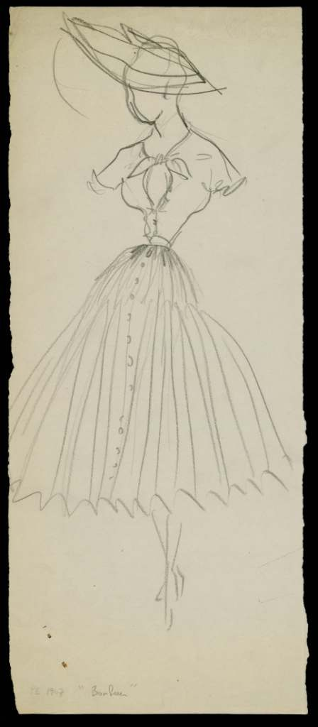 Sketch of the 'Bonheur' dress, Spring/Summer 1947 collection. Discover more on www.dior.com