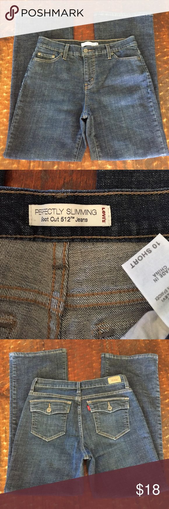 "Levi's 512 boot cut, size 10 short, 28.5"" inseam Levi's 512 boot cut perfectly slimming jeans, size 10 short, 28.5"" inseam, great condition! Levi's Jeans Boot Cut"