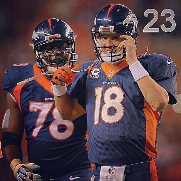No 23 on GiveMeSport's 2014 moments is when Peyton Manning broke Brett Favre's all time TD record. #GMS2014Moments #Manning #Broncos #Manning509 #NFL
