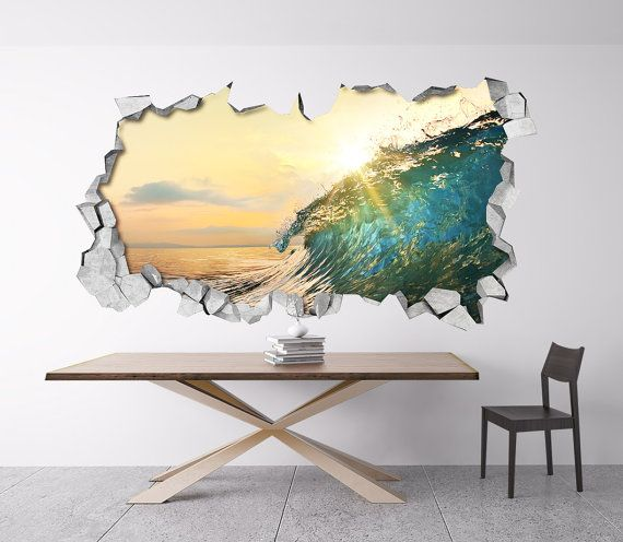 Wave 3d Wallpaper   Wall Sticker   Wall Decal   3d Wall Decals   Broken  Wall Decal   3d Printed   3d Wall Art   3d Art ...